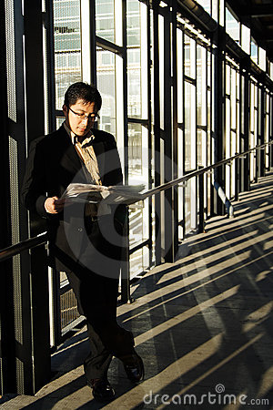 Reading businessman