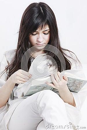 Reading with comfort closeup