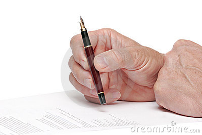 Reading a document  with a fountain pen