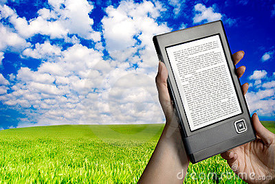 Reading ebook in nature