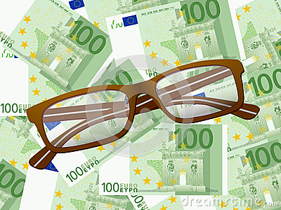 Reading glasses on one hundred euro background