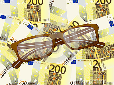 Reading glasses on two hundred euro background