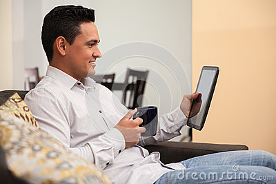 Reading the news on a tablet