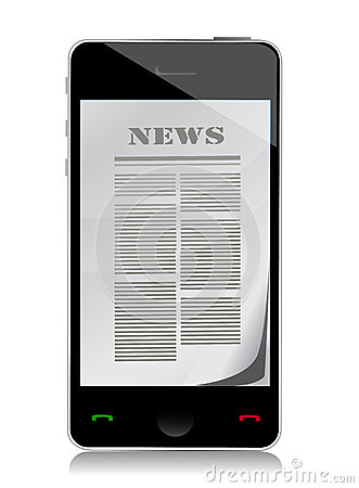 Reading news on touch screen phone illustration