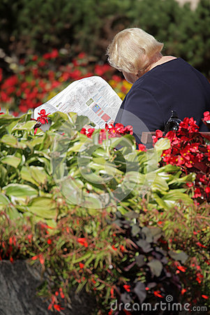 Reading newspaper in the park Editorial Image
