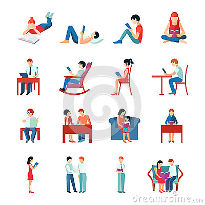 Free Reading People Set Royalty Free Stock Images - 52280339