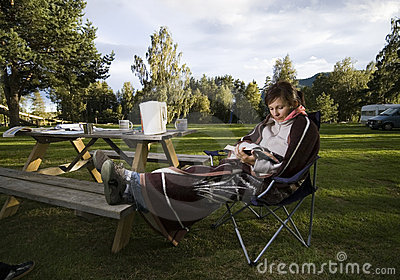 Reading on picnic