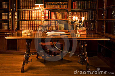 Reading room in old library.