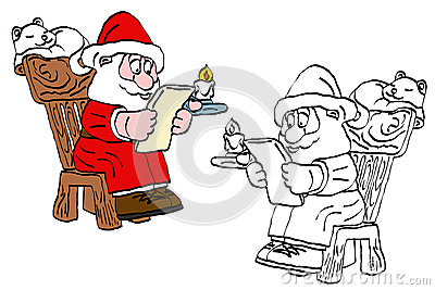 Reading santa claus cartoon
