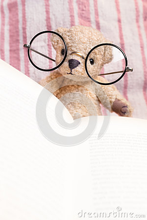 Free Reading Teddy Bear With Glasses Stock Image - 48484701