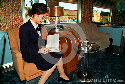 Reading on the Troop Train Editorial Stock Image