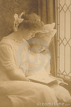 Reading by Window - Vintage Victorian