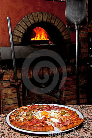 Ready-made pizza waiting