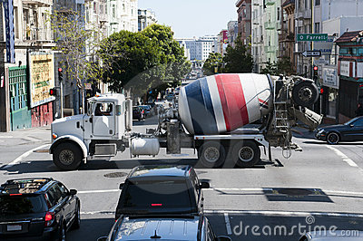 Ready mixed concrete lorry passing a crossover in