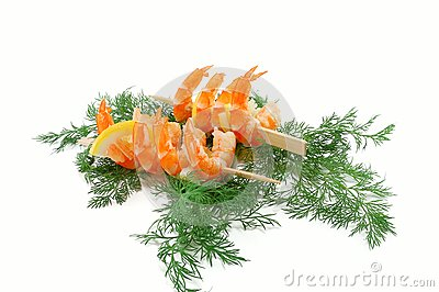 Ready shrimps on skewers