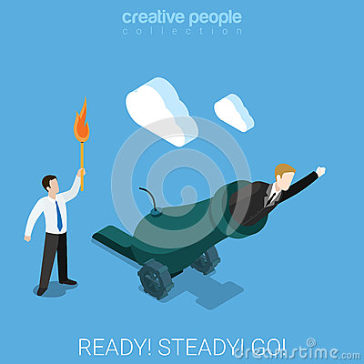 Free Ready Steady Go For Goal Business Shot Weapon Flat 3d Isometry Royalty Free Stock Photos - 66254178