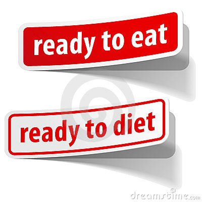 Ready to eat and diet stickers set