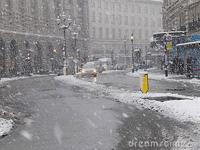 Reagent Street London snow Editorial Stock Image