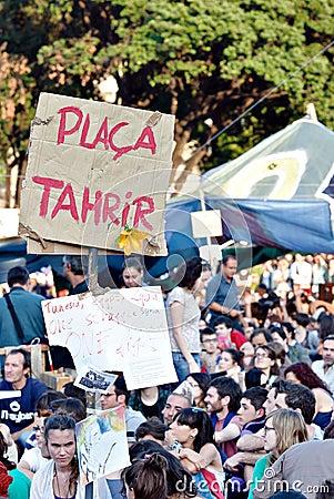 Real democracy now, Barcelona, Spain Editorial Photo
