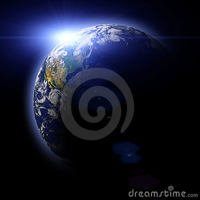 Real Earth Planet in blue sun