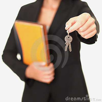 Real estate agent holding keys