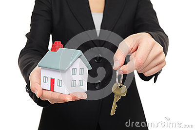 Real estate agent new house keys concept