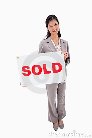 French Real Estate on Real Estate Agent With Sold Sign Stock Photos   Image  22664953