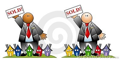 Real Estate Agent With Sold Sign and Houses