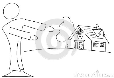 Stylized Real estate agent showing a home