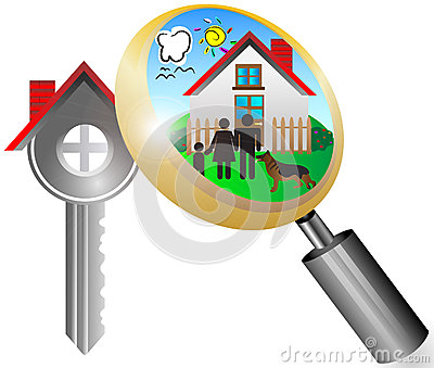 Real estate business concept with magnifying glass