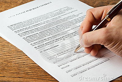 Real estate contract signing