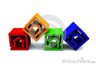 Real estate cubes horizonatal