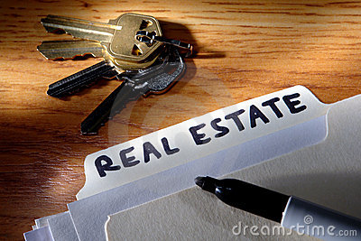 Real Estate File Folder with Marker and House Keys