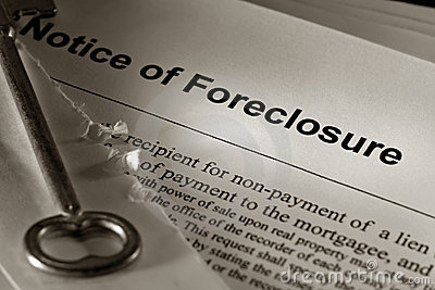 Real Estate Foreclosure Notice with Old House Key