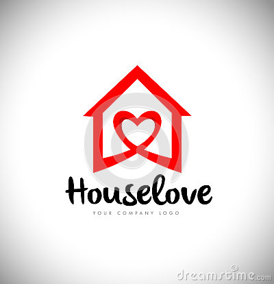 Real Estate Heart Love Logo House Vector Illustration