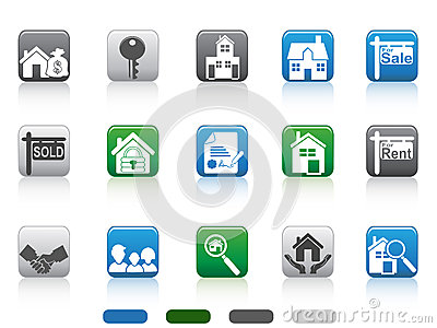 Real Estate Icon,square Button Series Stock Image - Image: 25021601