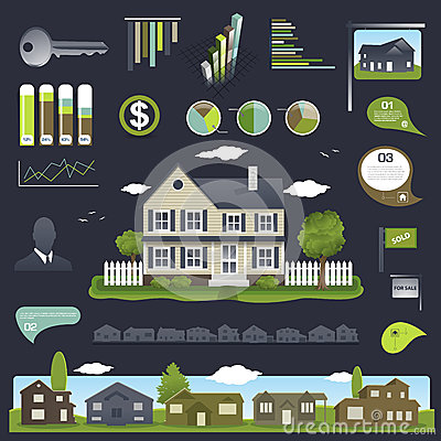 Real Estate Infographics Design With House Royalty Free