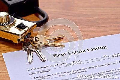 Real Estate Listing Document on Realtor Desk