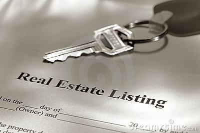 Real Estate Listing Sale Contract and House Keys