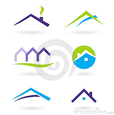 Real Estate Logo And Icons Vector - Purple