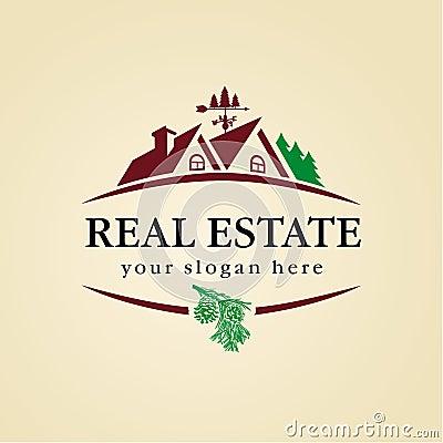 Real estate logo wood