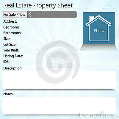 Real Estate Property Sheet