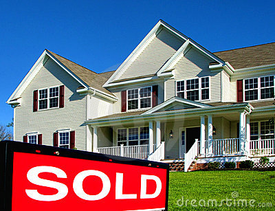 Real Estate Realtor Sold Sign and House for Sale
