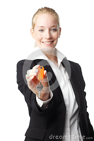 Free Real Estate Woman Giving A Key Stock Image - 31189221