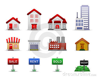Real Estates Property Icons Vector