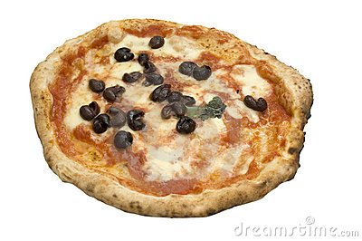 Real italian pizza isolated on white