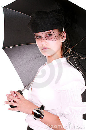 A real lady with umbrella