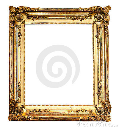 Real old antique gold frame isolated