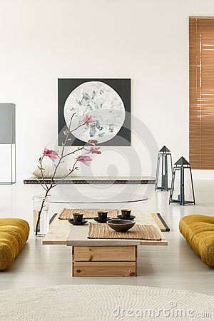 Free Real Photo Of A Japanese Room Interior With Tatami Mats, Table, Stock Image - 122121981