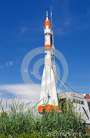 Real Soyuz type rocket as monument Editorial Stock Image